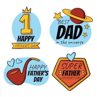 Platte zomer hand getekend vaderdag badge collectie