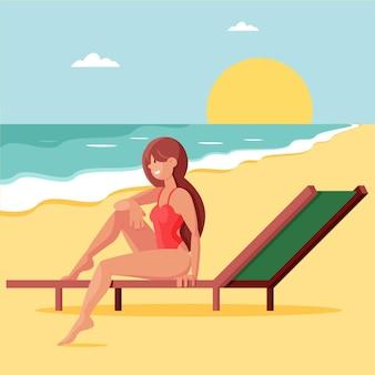 Platte zomer illustratie Premium Vector