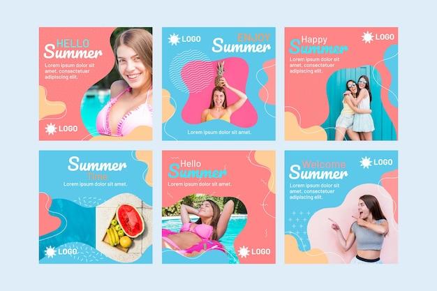 Platte zomer instagram-berichtenverzameling met foto