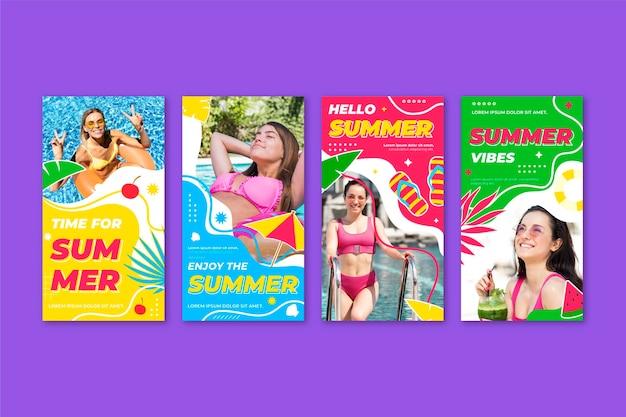 Platte zomer instagram-berichtenverzameling met foto Gratis Vector