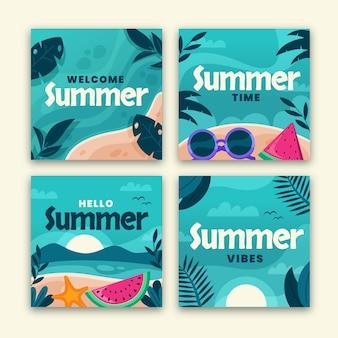 Platte zomer instagram posts collectie Gratis Vector