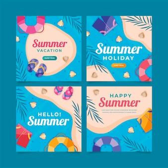 Platte zomer instagram posts collectie