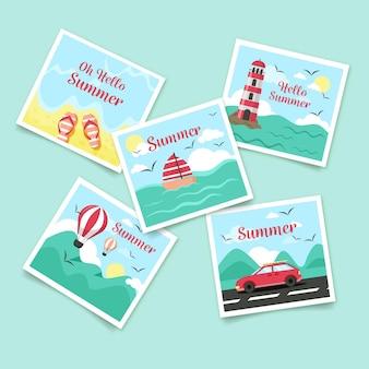 Platte zomer kaartpakket sjabloon