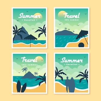Platte zomer kaartsjabloon collectie