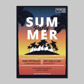 Platte zomer partij poster sjabloon
