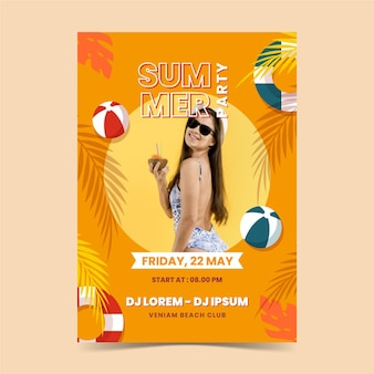 Platte zomer partij verticale poster sjabloon met foto Gratis Vector
