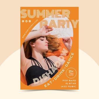 Platte zomer partij verticale poster sjabloon met foto