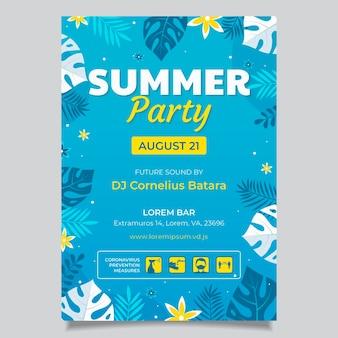 Platte zomer partij verticale poster sjabloon