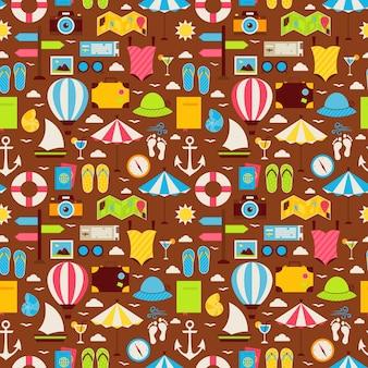 Platte zomer reizen reis naadloze patroon. vakantie vakantie platte ontwerp vectorillustratie. tegels achtergrond. collectie van zomervakantie en beach resort kleurrijke objecten.