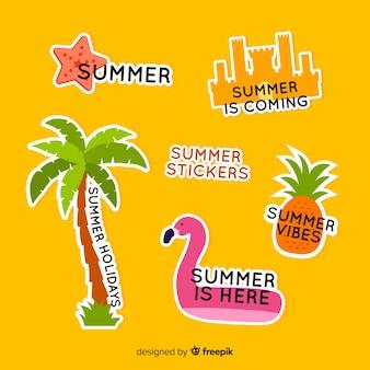 Platte zomer stickers collectie