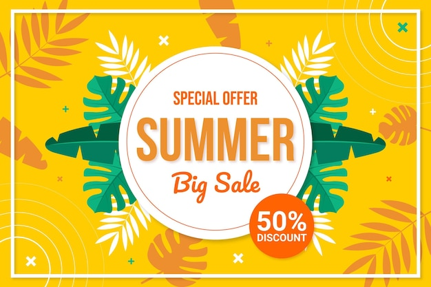 Platte zomer verkoop illustratie