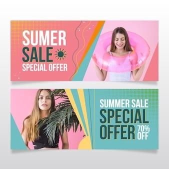 Platte zomer verkoop sjabloon voor spandoek met foto