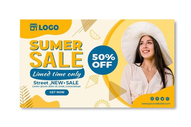 Platte zomer verkoop sjabloon voor spandoek