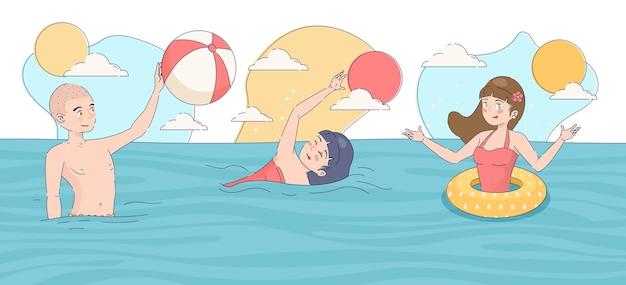 Platte zomerscène met mensen in water