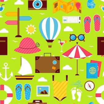 Platte zomertijd reizen naadloze patroon. resort vakantie naadloze patroon. reis platte ontwerp vectorillustratie. tegels achtergrond. collectie van zomervakantie en ocean beach kleurrijke objecten.