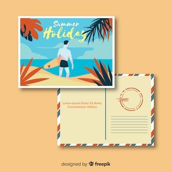 Platte zomervakantie briefkaartsjabloon