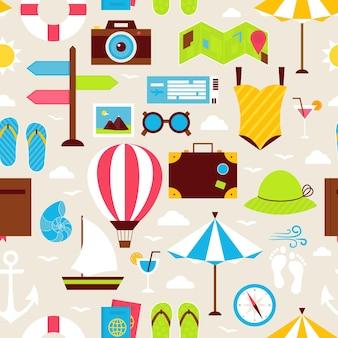 Platte zomervakantie naadloze patroon. reizen reis vakantie platte ontwerp vectorillustratie. tegels achtergrond. collectie van zomervakantie en beach resort kleurrijke objecten.