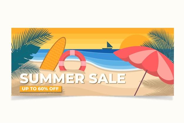 Platte zomerverkoopbanner, post op sociale media, kortingsbon