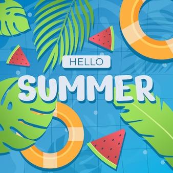 Platte zomerverkoopbanner, post op sociale media, kortingsbon Premium Vector