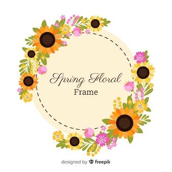 Platte zonnebloemen voorjaar achtergrond