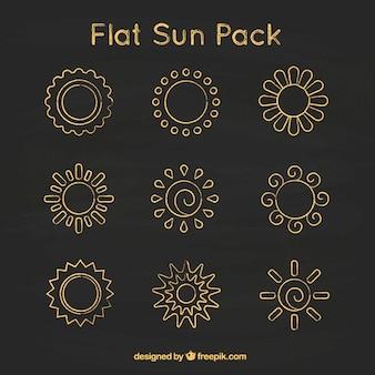 Platte zonnen op het bord