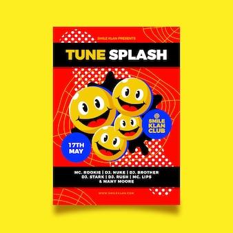 Platte zure emoji-poster sjabloon geïllustreerd