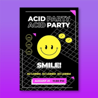 Platte zure emoji poster sjabloon