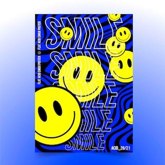 Platte zure emoji-poster sjabloon
