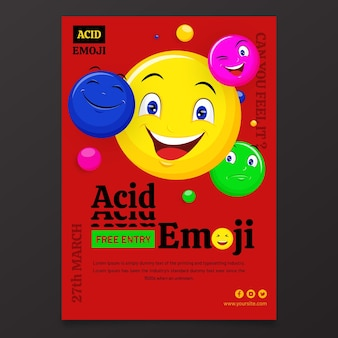 Platte zure emoji verticale poster sjabloon