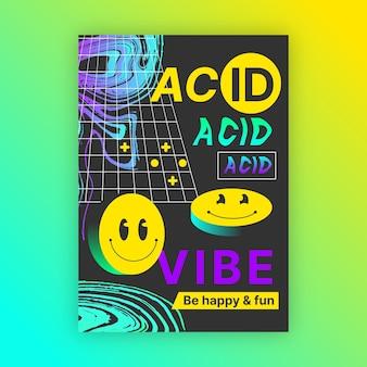 Platte zure emoji verticale poster sjabloon Gratis Vector