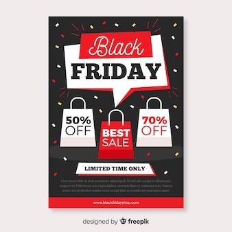 Platte zwarte vrijdag flyer sjabloon en tassen met aanbiedingen