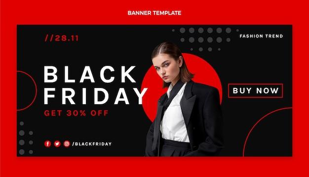 Platte zwarte vrijdag horizontale verkoopbanner