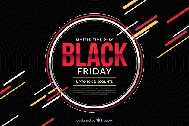 Platte zwarte vrijdag met cirkels en kleurrijke lijnen
