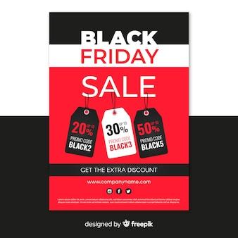 Platte zwarte vrijdag poster ontwerpsjabloon