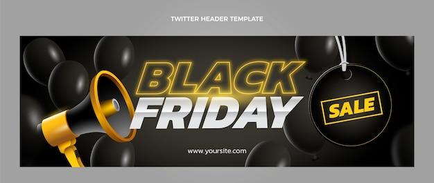 Platte zwarte vrijdag twitter voorbladsjabloon