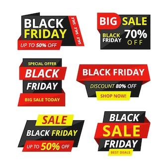 Platte zwarte vrijdag verkoop labels collectie