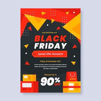 Platte zwarte vrijdag verticale postersjabloon