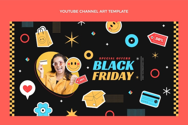Platte zwarte vrijdag youtube-kanaalkunst