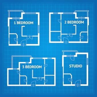 Plattegrond appartement ongemeubileerd set blauwdruk ontwerpelementen