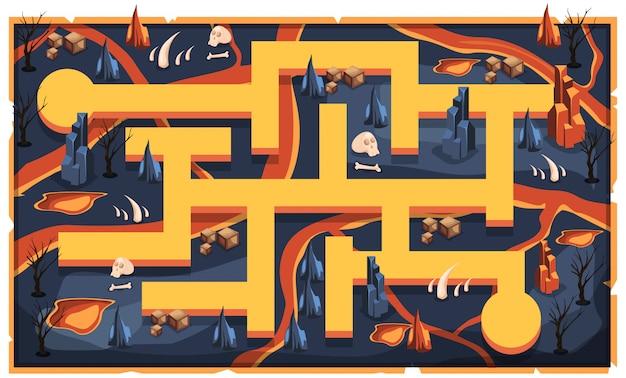 Plattegrond dark magma lava met pad en schedel, droge boom, rotsen en doos voor 2d game platformer illustration