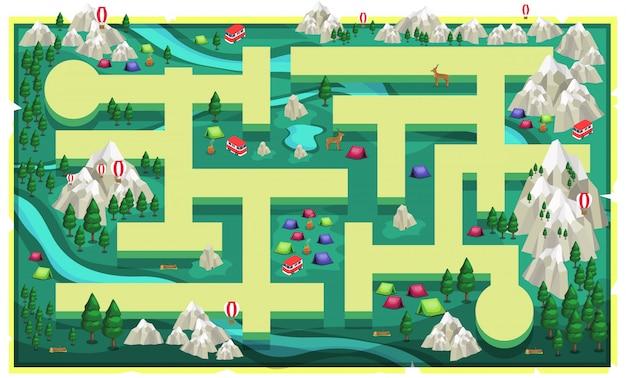 Plattegrond green nature rocks mountain met pad en grote bomen, kleurrijke tent camping, busje, herten en bossen voor 2d game platformer
