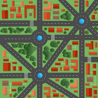 Plattegrond van de stad met straten en huizen