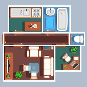 Plattegrond van het appartement met meubilair