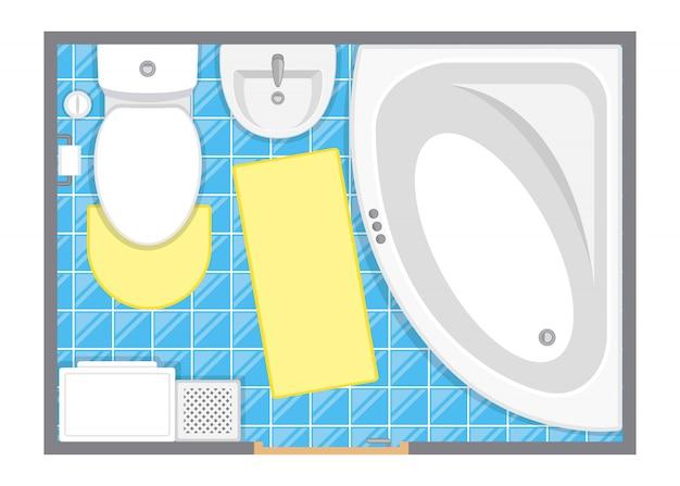 Plattegrond van toilet kamer illustratie