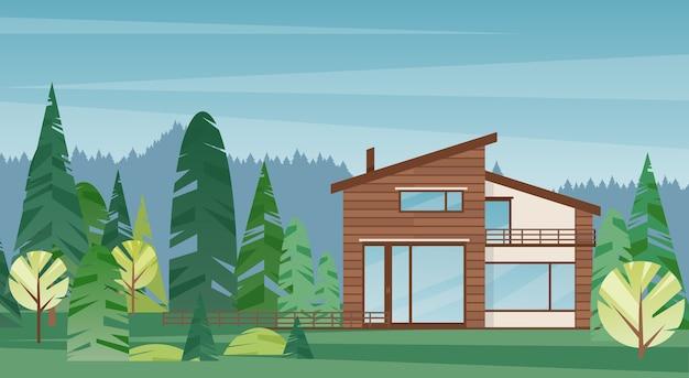 Platteland cottage buitenkant. luxe woningarchitectuur en prachtig bos op achtergrond