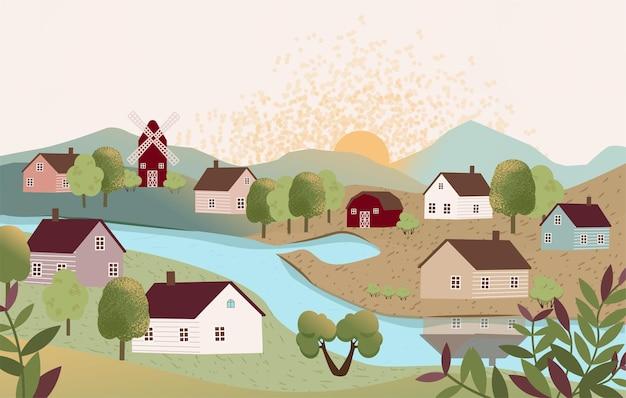 Platteland landschap boerderij met bomen rivier meer gras weiden bergen zon boerderij op het platteland leven in land zonnige zomerdag in het dorp platte cartoon vectorillustratie