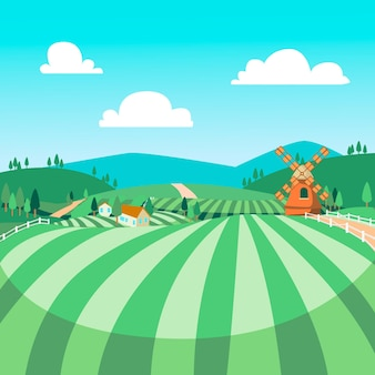 Platteland landschap illustratie