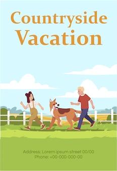 Platteland vakantie poster sjabloon