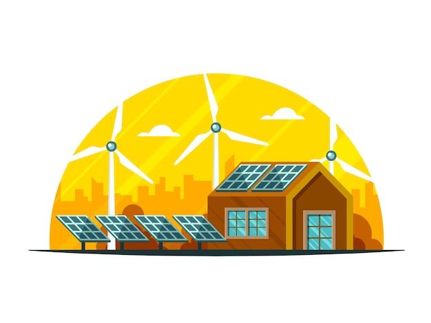Platteland weergave van huis illustratie, zonnepanelen en windmolens op gele en witte achtergrond.