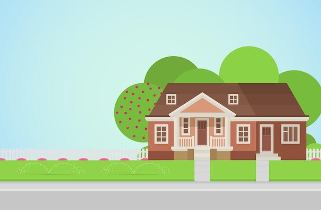 Plattelandshuis met achtertuin op gazon concept architectuurelementen bouw je wereldcollectie
